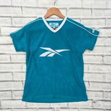 VTG Rare REEBOK Turquoise Blue Textured Sports Tee T Shirt V Neck S M 10 12 14
