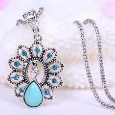 Women Crystal Peacock Pendant Necklace Chain Bridal Prom Party Wedding Jewelry