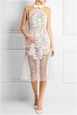 Authentic SELF-PORTRAIT Kleid Dress Robe Spitze HOCHZEIT Weiß Gr.UK10 D36 NEU!