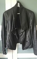 *REDUCED* ALL SAINTS 8 (will fit 10) black leather HYDE biker waterfall jacket