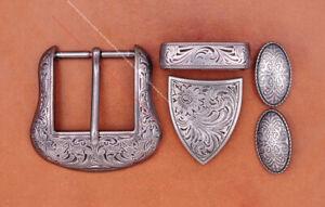 """Vintage Silver Cowboy Ranger Floral 5 pc Set Western Belt Buckle fit 1-1/2"""" Belt"""