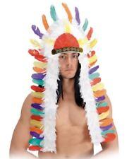 Copricapo indiano lungo con piume colorate diadema pellerossa