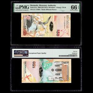 [PMG] Bermuda 50 Dollars, 2009(ND2012), P-61A, EPQ 66, Prefix A/1, UNC