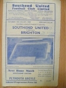 1958 League Division III (South)- SOUTHEND UNITED v BRIGHTON