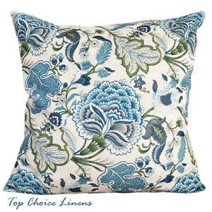 45 x 45cm Home Decor Blue/Green/Cream Retro Jacobean Floral Cushion Cover