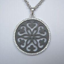 Farbe Silber + Schwarz - Anhänger Ornament mit Kristallen + Kette 70-75 cm - NEU