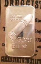 The One Ounce Silver Bullet 999 SILVER ART BAR 1 TROY OZ