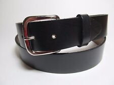 "Made in USA Men Black 100% Oil Tan Genuine Leather Snap Buckle Belt 54"" #1288"