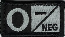 Grey Gray Black Blood Type O- Negative Patch VELCRO® BRAND Hook Fastener Compati