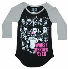 Suicide Squad Girls Juniors Ragland  T-Shirt - Worst Heroes Ever Movie