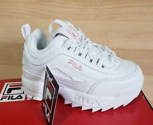 Toddlers FILA DISRUPTOR II Size 8 Athletic Shoes White Pink Sneakers Logo retro