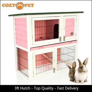 Rabbit Hutch 3ft by Cozy Pet Pink Guinea Pig Hutches Run Rabbit Ferret Runs RH03