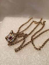 Vintage A&S Attwood & Sawyer Red and Clear Crystal Gold Tone Pendant Necklace