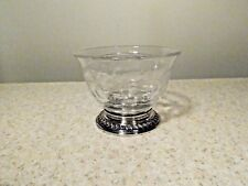 HEISEY DIVIDED GLASS BOWL SILVER FERN CUTTING AND HEAVY WATSON STERLING BASE