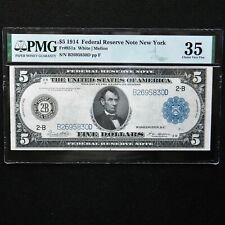 1914 $5 FRN  New York, Fr # 851a, PMG 35  Choice Very Fine, White/Mellon