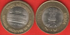 """India 10 rupees coin 2016 """"National Archives"""" BiMetallic UNC"""