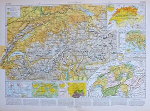 1913 MAP SWITZERLAND ALPS COMMERCE RELIGIONS LANGUAGES BERN ZURICH GENEVA