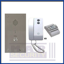 BPT - 1 WAY AUDIO INTERCOM DOOR ENTRY KIT WITH STAINLESS PANEL & 3X HANDSETS