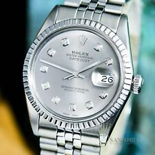 Rolex DateJust 16030 Grey Slate Rhodium Diamond Dial Sapphire 36mm Mens #1594