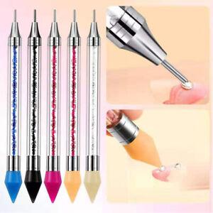 Double Head Manicure Tool Nail Rhinestone Picker Dotting Pen Pick Up Applicator