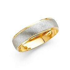 Wedding Band Ring Solid 14k Yellow & White Gold Brushed Satin Polished Mens 6 mm