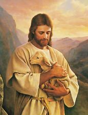 JESUS CARRYING A LOST LAMB 8X10 CHRISTIAN ART GLOSSY PHOTO PICTURE