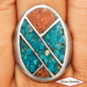 Crushed Turquoise Coral Inlay Sterling Silver Oval Ring 14.1 Grams NR