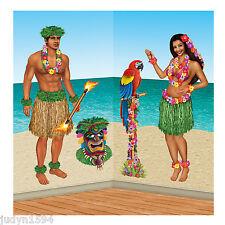 HULA GIRL & POLYNESIAN MAN SCENE SETTER LUAU HAWAIIAN BEACH PARTY CUTOUTS PARROT