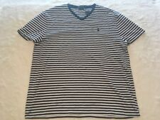 Polo Ralph Lauren V Neck Classic Fit T Shirt Blue White Striped Mens L    A