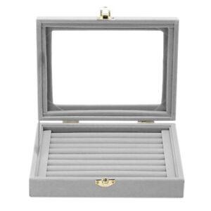 Velvet Glass Jewelry Ring Display Box Tray Holder Storage Box Organizer AU