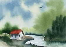 ACEO Original Art Watercolour Painting by Bill Lupton - Shack by the River