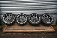 GENUINE FERRARI 458 FORGED MULTI SPOKE SET OF ALLOY WHEELS AND TYRES GREY