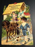 C 1910 Victorian Kids Horse Wagon Die Cut Calendar Litho Sign Hagerstown Md