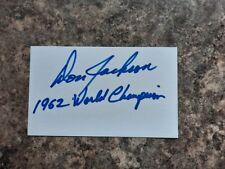 DON JACKSON 1962 WORLD CHAMPION AUTOGRAPHED INDEX CARD