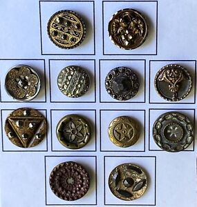 Antique Picture Buttons 1890's Victorian Period -  Lot of (12)