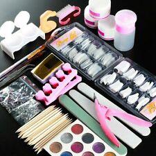 Pro Acrylic Nail Art Tool Kit Set Powder Nail Sticker DIY Set Pump Nail Brush UK