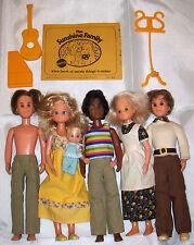 Vintage LOT Sunshine Happy Family 6 Dressed Dolls Music Idea Book Mattel 1970's