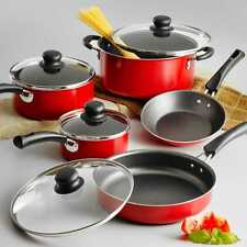Nonstick 9-Piece Pots And Pans Cookware Set Cooking Red Set New Free Shipping