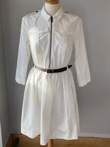 Burberry White Long Sleeve Cotton Dress Women UK10 / US8 with belt VGC!