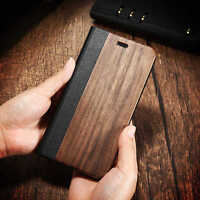 Bamboo Leather Flip Wallet Natural Wood Case for iPhone 6 6s 7 6 6s7 Plus