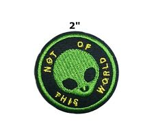 Not of This World, Green Alien Embroidered Patch Iron-On/Sew On Applique