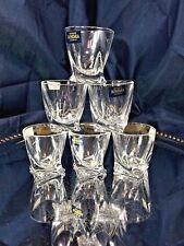 Crystal Glass Set of 6 Bohemian Shot Glass  2 oz tVodka Whiskey Cognac Quadro