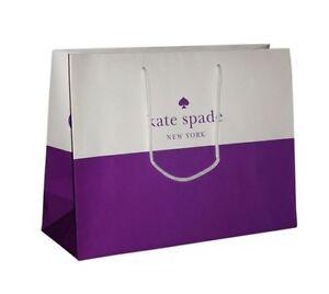 "Kate SPADE Shopping Paper Gift Bags - Purple & White 16"" x 12"" x 6"""