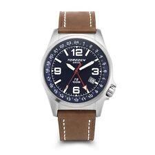 New Torgoen Swiss T05 Men's Blue Face 42mm Case Pilot Quartz GMT Watch T05108