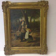 Antigua Pintura al óleo sobre lienzo de dos chicas y un perro posiblemente Francés Firmado