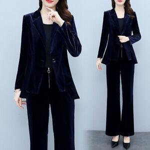 Womens Velvet Lapel Collar Blazer Suit Casual Wide Legs Trousers Jacket Set 2Pcs