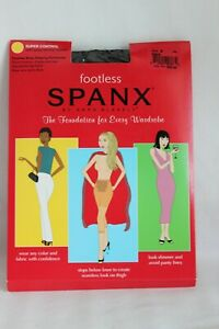 Spanx Footless Body Shaping Pantyhose Super Control Black Size B
