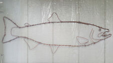 Jumbo Salmon  - handmade metal barbed wire art fish pole fishing lure sculpture