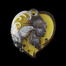 Carved Native American MOP & Gem Pendant Bead GE025018
