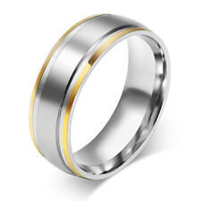 Size 4-14 Silver & Gold Stainless Steel Engagement Ring Men/Women's Wedding Band
